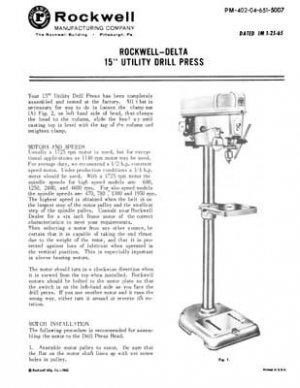 Rockwell Delta 15 Inch Utility Drill Press Manual