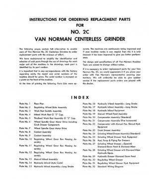 Van Norman No. 2C Centerless Grinder Parts Manual