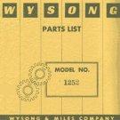 Wysong Model No. 1252 Power Squaring Shear Parts Manual