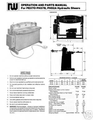Pexto PH37B & PH52A Hydraulic Shears Manual Parts & Ops