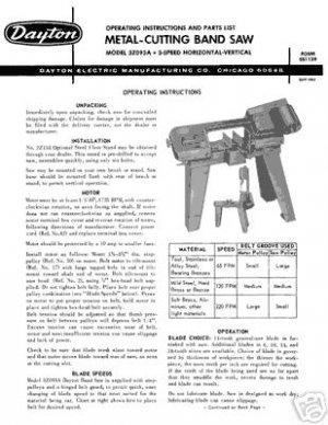 Dayton Model 3Z093A Horizontal Band Saw Manual