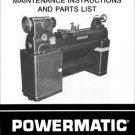 Powermatic Model 90 12 Inch Wood Lathe Manual