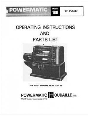 Powermatic Model 180 18 Inch Planer Manual