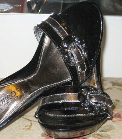 Size 7: EMBOSSED JEWELS METAL STILETTO ITALY HEELS