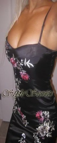 Size M: SEXY FLORAL EMBROIDERED SILK SATIN DRESS