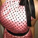 Size M: SEXY RHINESTONE BROOCH PINK BUBBLE POLKA DOT MINI DRESS S/M