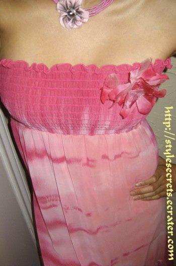 CUTE STRAPLESS FLORAL TIE-DYE CHIFFON PINK DRESS