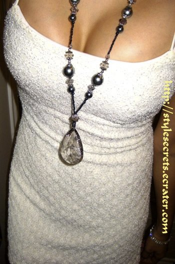 GRAY FAUX PEARL LONG CHAIN PENDANT NECKLACE