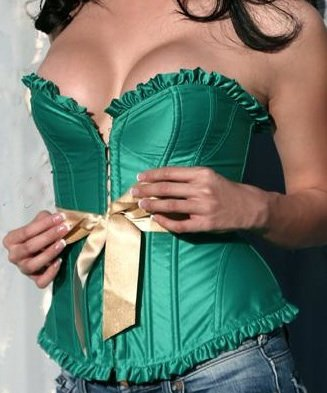 SEXY EMERALD GREEN CORSET BUSTIER GOLD SASH