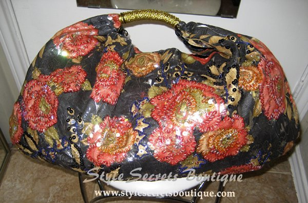 BEADED SEQUINS BLACK GOLD FLORAL SATCHEL BAG PURSE BIG