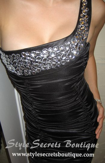 Size M/L: SEXY BLACK RHINESTONE JEWELS BODYCON FITTED RUCHED ONE SHOULDER COCKTAIL DRESS