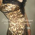 Size M: GORGEOUS MARCIANO SILK CHARM LEOPARD LACE TRIM BABYDOLL DRESS