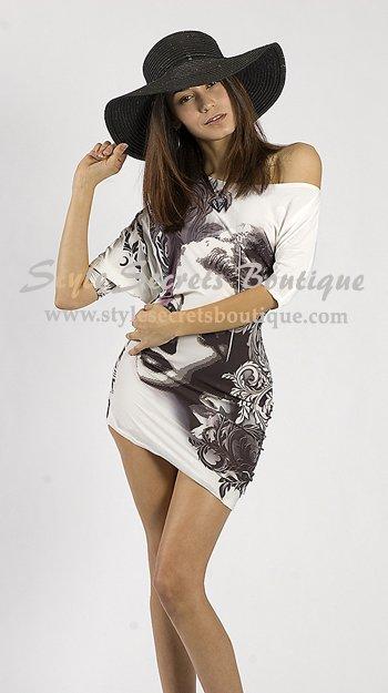 Size S: GRACE KELLY OFF-SHOULDER BODYCON TUNIC DRESS