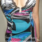 Size L: Sexy MARCIANO Silk Cavalli style Abstract Sheer Lace Zebra Print Halter Bandage Dress