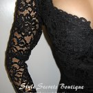 Size S: VTG NUDE SHEER LACE RUNWAY PENCIL CORSET BRA SCALLOPED SLEEVES COCKTAIL DRESS