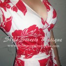 Size S/M: STUNNING RED HIBISCUS FLORAL FAUX WRAP CAP SLEEVE BELTED MAXI DRESS