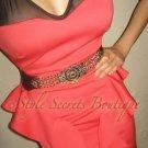 Size XS: SEXY CORAL RUFFLE MESH LACE DITA WIGGLE PENCIL CORSET DRESS
