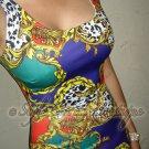 Size M: GORGEOUS VENETIAN LEOPARD MIXED CACHE PRINTS BODYCON DRESS
