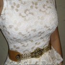 Size S: SEXY IVORY CREAM CORSET LACE MAD MEN EMBROIDERED WIGGLE DRESS
