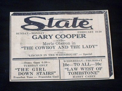 1939 Gary Cooper at the State Theater Worthington Times print ad