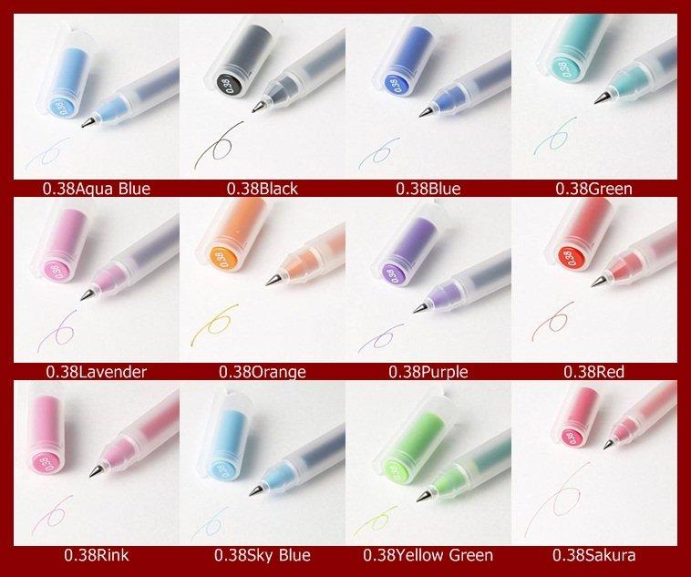 MUJI Japan Gel-Ink Ballpoint Pen 0.38mm 12 colors set