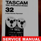 TASCAM 32 Reel-to-Reel 2 track * SERVICE manual * PAPER