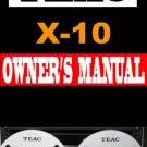 TEAC  X-10 X10  Reel-to-Reel  User / Owner's Manual