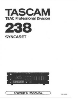TASCAM 238 [8]Track  * OWNERS MANUAL *