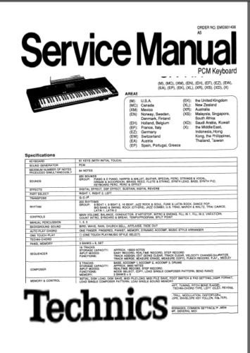 TECHNICS SX-KN1500 (KN1500) KEYBOARD SERVICE MANUAL