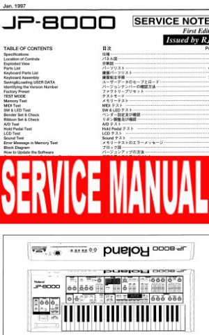 ROLAND JP-8000 JP8000 SYNTH ** SERVICE MANUAL **