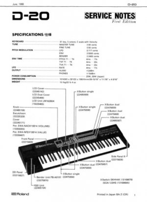 ROLAND D-20 D20 - Repair / Service Manual w/ Schematics