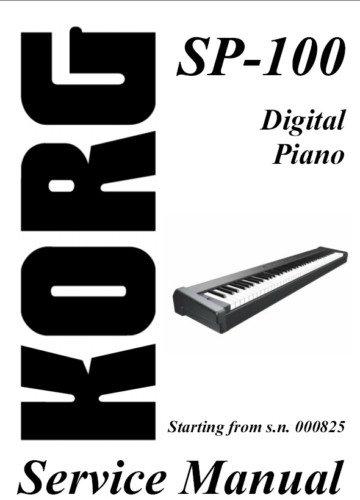 korg sp 100 sp100 digital piano repair service manual. Black Bedroom Furniture Sets. Home Design Ideas
