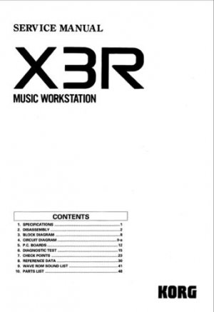 KORG X3R X-3R Rack Synth * SERVICE MANUAL w/Schematics