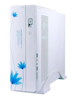 White Blue Flower Gaming Computer Case