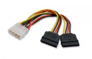 4 Pin IDE Molex to 2 SATA Serial ATA HDD Power Adapter Splitter Cable