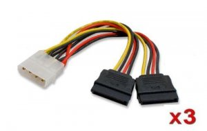 3 QTY IDE to SATA Power Y-Cables (Splitter) Adapter, 4Pin IDE to 2XSATA