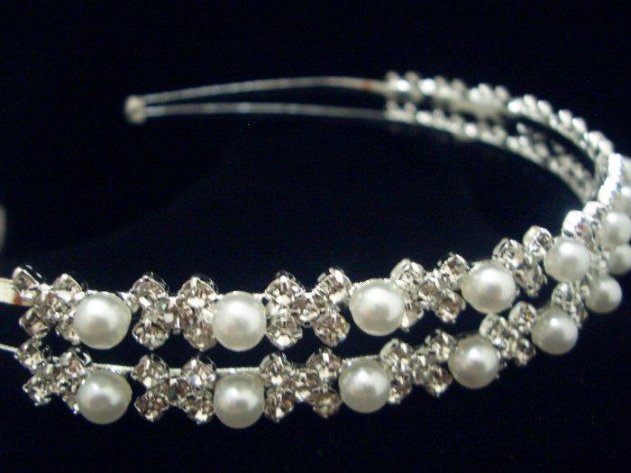Bridal Wedding Veil Crystal Pearl Headband Tiara T02