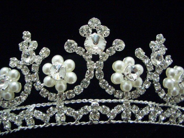 NEW Bridal Wedding Veil Crystal Pearl Crown Tiara T26