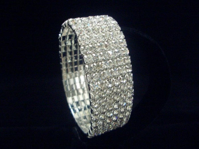 Bridal Wedding Swarovski Crystal 7 Rows Bangle Bracelet