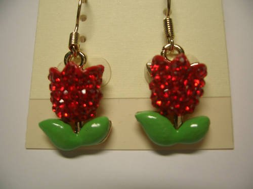 New Red Floral Crystal Dangle Earrings E018