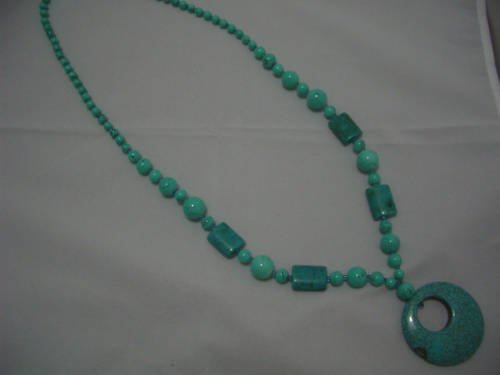 """New Round Turquoise Beads Pendant Necklace 30"""" TN21"""