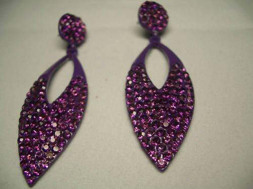 New Silver Purple Crystal Leaf Dangle Earrings
