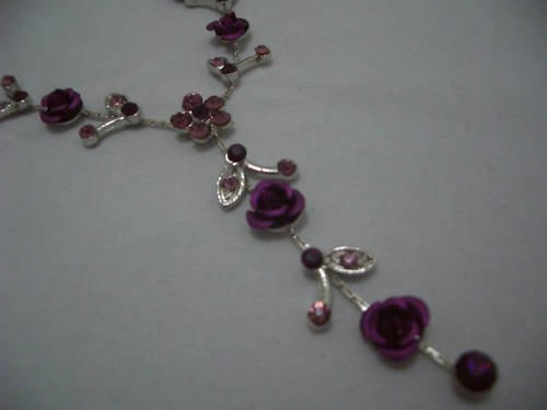 New Floral Purple Crystal Silver Chian Rose Necklace