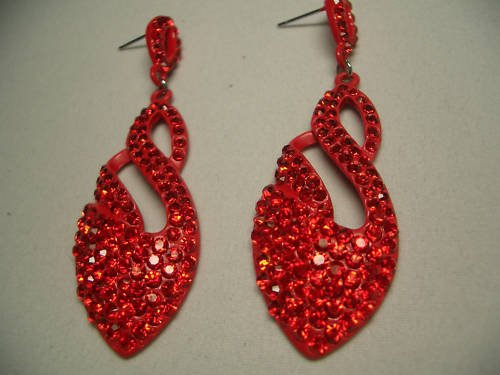New Silver Red Crystal Swan Shaped Dangle Earrings