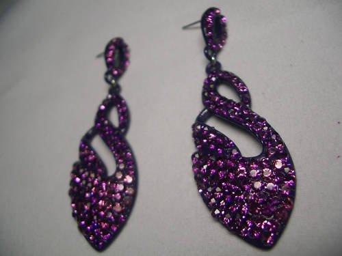 New Silver Purple Crystal Swan Shaped Dangle Earrings