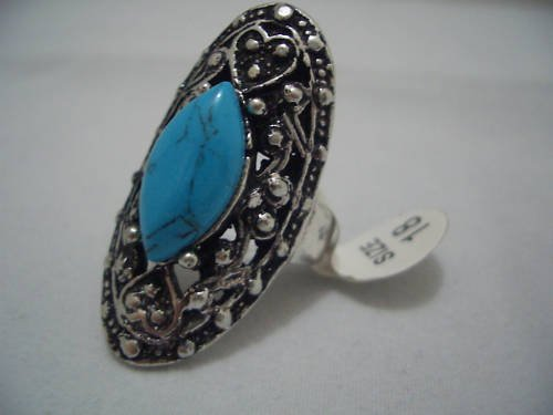 Genuine Turquoise Silver Ring Size 18