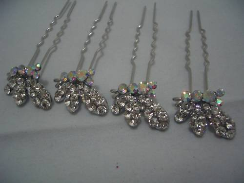 4 Butterfly Bridal Party Wedding Crystal Hair Pins P03