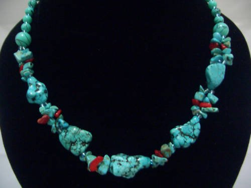 "New Stone Howlite Turquoise Beads Necklace 19"" TN14"