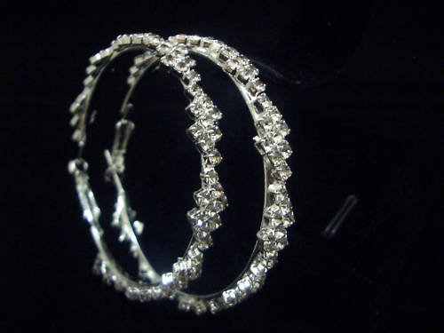 New Silver Plated CZ Hoops Earrings E011