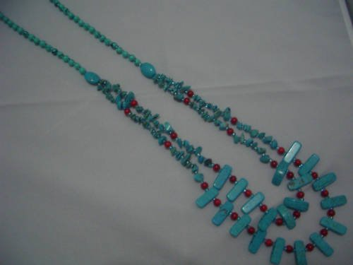"""New Howlite Turquoise Red Bead Double Necklace 30"""" TN24"""
